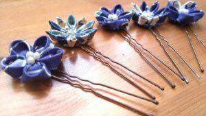 Assorted Single Layered Blue Tsumami-zaiku Flower Kanzashi Hair Pins Feature