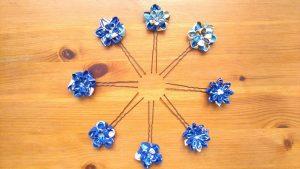 Double Layered Blue Tsumami-zaiku Flower Kanzashi Hair Pins